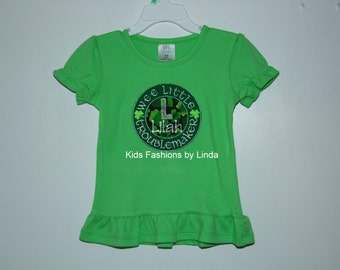 Girl Personalized St Patrick Day Wee Little Troublemaker Shirt