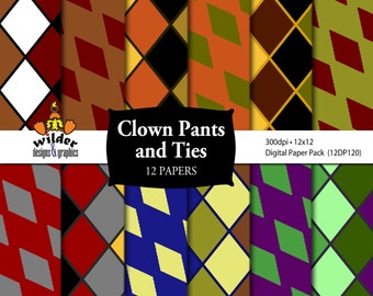 Digital Paper 12 Pack - Clown Pants and Ties (12DP120) Instant Download
