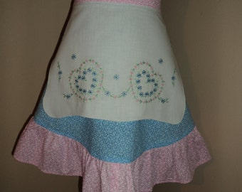 Pink and Blue Women's Half Apron from Upcycled Dresser Scarf