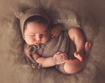 ECO Bear Overall Shorts Set - True ORGANIC newborn little romper and bear bonnet set - organic clothing