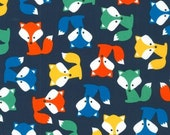 18 x 20 LAMINATED cotton fabric - Fox on navy Urban Zoologie Anne Kelle BPA free - Approved for children's products