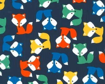 17 x 40 laminated cotton fabric (similar to oilcloth) remnant - Fox on navy - Urban Zoologie Anne Kelle - BPA free - Approved for children