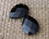 Faceted Black AB Briolettes CZ Cubic Zirconia Crystal Beads- Medium 16x12mm-1 bead