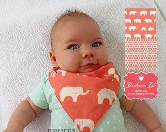 Bandanna Bibs - Set of 2 Organic Cotton and Bamboo Terry Baby Bib-Coral Elephant and Coral Dots-Bandana Bib Adjustable-READY to SHIP