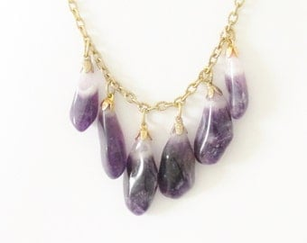 Vintage Amethyst Dangle Chain Necklace