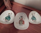 3 Vintage Trinket Dishes with Victorian or Colonial Ladies Pin Tray, Dresser, Vanity Bowl