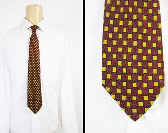 Vintage 50s Bullseye Silk Necktie Red Yellow Check Hand Blocked England