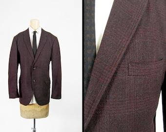 Vintage 60s Towncraft Wool Jacket Penneys Black Red Tartan Thin Lapel Sportcoat - Size 41 R