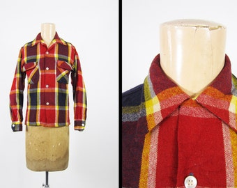 Vintage 50s Brent Wool Rayon Shirt Red Plaid Loop Collar Wards Button Up - Men's Small