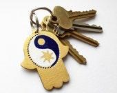 Hamsa Hand Keychain, Rear View Mirror Car Charm, Hand Painted Sun and Moon Yin Yang - Personalized