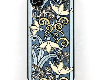 Snowdrop Floral iPhone Case, Art Nouveau illustration, Blue and white flowers, iPhone 4 5 6  snap on plastic case, Retro phone case, Vintage