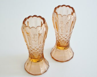 Vintage Glass Hatpin Holders Pink Glass Set of 2 Great for Storage Container, Depression Glass