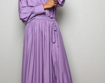 Maxi Dress  With Long Sleeves- Elegant Light Purple/Lilla Maxi Dress : Joy of Spring Collection No.2