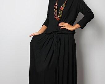 Black Dress -  Long Sleeve Modest Black Maxi Dress : MODEST Collection No.1