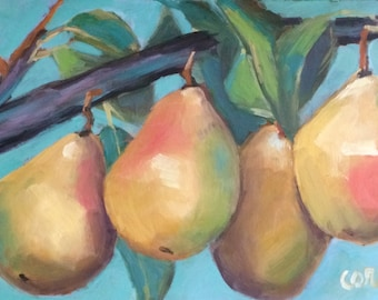 Pears on Branch • Original Art • Oil Painting • Daily Painter • Daily Painting