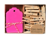 Neon Pink mini tags and clothespins set. 40 pack Valentines gifts | Stationery gift tag set. Party favor embellishments