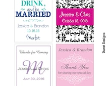 168 - 2x2.67 inch Custom Wedding Rectangle or Mini Wine Bottle Labels - hundreds of designs - change designs to any color, wording etc