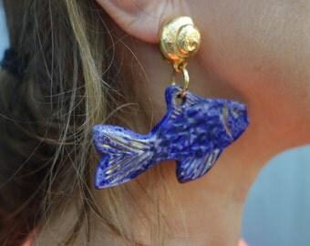YSL Rive Gauche Cobalt Blue Fish Earrings France