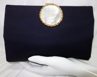 BERGER BAGS Vintage 40s  Midnight Satin Clutch