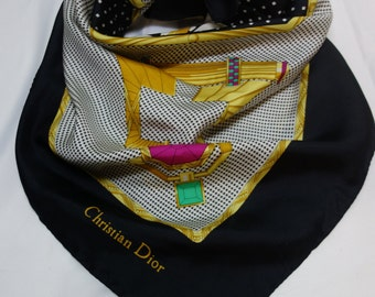Vintage CHRISTIAN DIOR Houndstooth & Jewel Silk Scarf