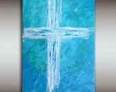 8x10 Original Abstract Acrylic Cross Painting, Christian Fine Art, White Cross on Blue