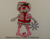 Rick Rack Primitive Christmas Elf Raggedy Doll BICOFG