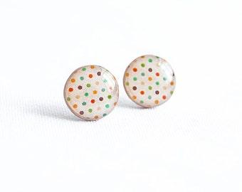 Polka dots stud earrings colorful jewelry cute post earrings
