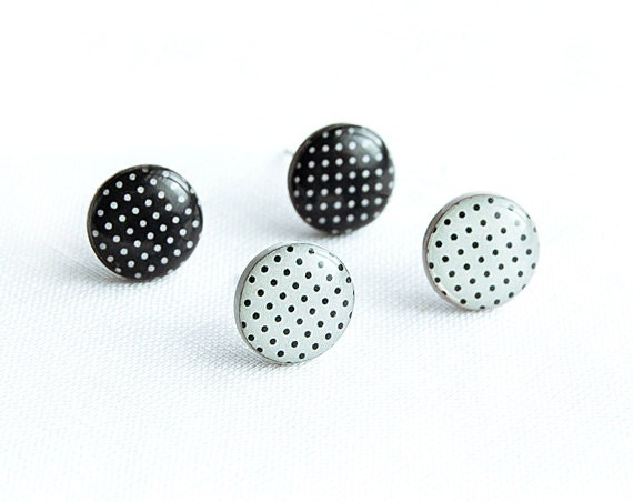 Polka dot stud earings set, white and black post earrings,