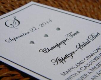 Wedding Dinner Menu - Classic Style Black and White with Rhinestones