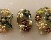3 Glass Brown Cabochons with Pearls / Brown Glass / metal Leaf / Craft Flat Marbles