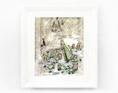 8x9 Vintage Madeline Print. Original French Book Plate Illustration. Snow Ice Skating Rink. France Paris Ludwig Bemelmans