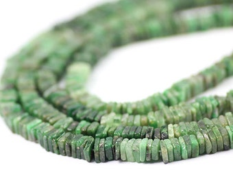 Natural Emerald Smooth Square Heshi Beads 1 Inch Strand Green Shaded Dark Kelly Precious Gemstone
