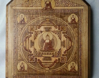 Buddhist Temple Mandala Woodburned Plaque