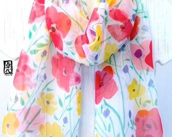 Hand Painted Silk Scarf, ETSY, Chiffon Scarf, Multicolor Floral Scarf, Tricolor Wildflowers Scarf, Silk Takuyo, 11x60 inches, Made to order