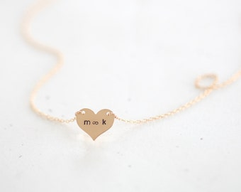 Personalized Heart Charm Necklace - 14k gold filled heart charm necklace, custom messages letters initials numbers and more