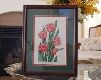 Pink Tulip Cross Stitch   Needlework  Embroidery