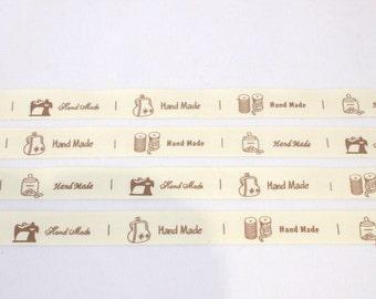 Handmade ribbon, handmade packaging, gift wrap ribbon, cream, UK shop