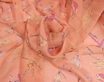 Pink bird print chiffon, UK shop