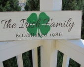 Family sign with shamrock, name and established date - personalized - custom wood sign in colors of your choice - LR-046