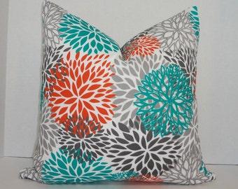 OUTDOOR Pillow Flower Burst Teal Orange Grey Deck Patio Pillow Cover Mum 18x18