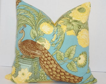 Blue Yellow Brown Peacock Print Pillow Cover Decorative Yellow Blue Throw Pillow Cover 18x18