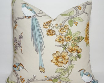 Bird Print Blue Gold Taupe Pillow Cover Decorative Throw Pillow Cover Blue Bird Print 18x18
