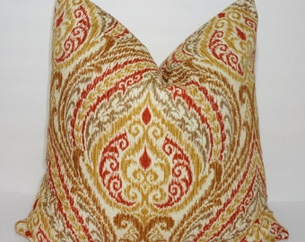 Decorative Pillow Cover Floral Print Tan Brown & Rust Pillow Cover Throw Pillow Size 18x18