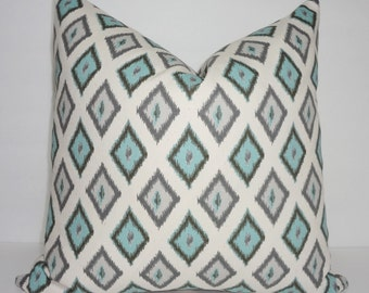 Pillow Cover Village Blue Carnival Diamond Geometric Pillow Cover Blue Grey Throw Pillows All Sizes