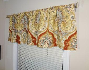 Curtain Valance Topper Window Valance 52x15 Kravet Latika Circus Paisley Linen Curtain Valance
