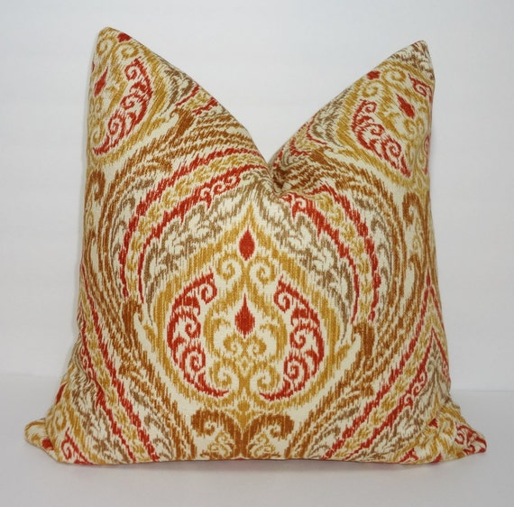 Decorative Floral Pillow Covers : OVERSTOCK SALE Decorative Pillow Cover Floral Ikat Print Tan