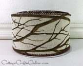 "Chritmas Wired Ribbon, 2 1/2"", Tree Branch Glitter Print - THREE YARDS -  ""Tree Branch"" Winter Trees, Thanksgiving Wire Edged Ribbon"