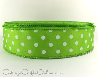 """Wired Ribbon, 1 1/2"""", Lime Green with White Polka Dots - FIFTY YARD ROLL - Offray Ribbon, Spring, Halloween, Christmas Wire Edged Ribbon ff"""