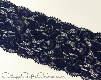 "Elastic Lace Ribbon 2 1/2"" wide, ONE YARD, Navy Blue, May Arts - Use for hairbands, sewing, lingerie"