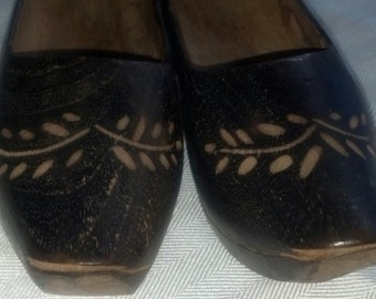 Vintage Dutch Child-Sized Wooden Shoes Incised Pattern